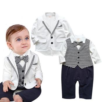 Newborn Baby Boys Clothes Set Gentleman Striped Tie Romper + Jacket Coat 2pcs Clothing Set Infant Boy Set New Born Baby Suit