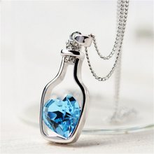 Vienkim 2018 New Design High Quality Price Women Necklace Fashion Popular Love Drift Bottles Blue Heart Crystal Pendant Necklace(China)