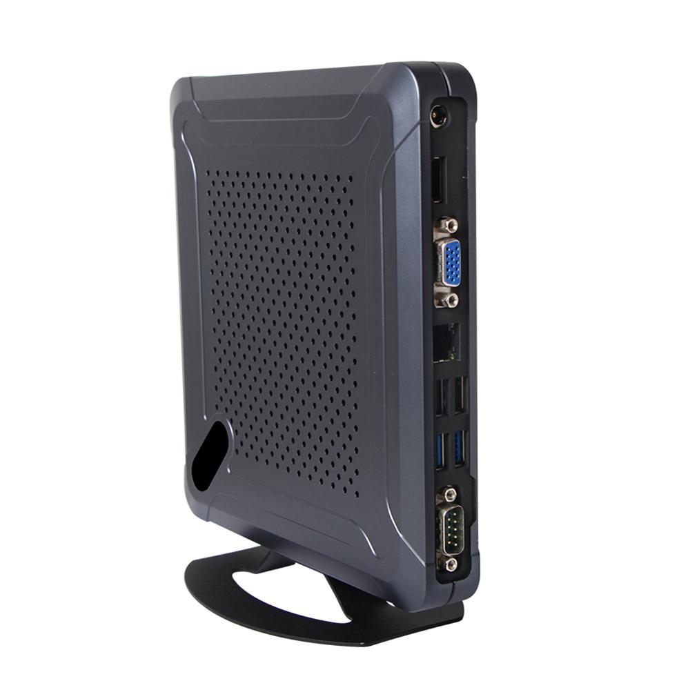 Mini PC sans ventilateur, ordinateur de bureau, Intel Celeron Quad Core J1900, Windows 10/Ubuntu, [HUNSN BH06L], (COM/VGA/HD/LAN/6USB2. 0/2USB3. 0)