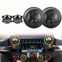 (4 Pcs) 7'' Black LED Headlights Assembly Headlamps + 4 '' LED Fog Lights Bulbs for Jeep Wrangler 97 2017 JK TJ LJ