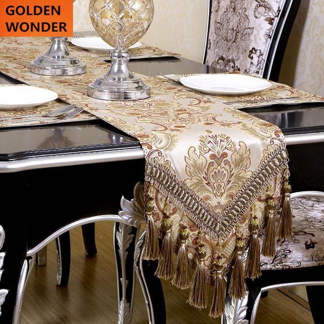 lujo europeo moderno minimalista camino de mesa mantel bordado corredores de mesa bandera de mesa cena - Caminos De Mesa