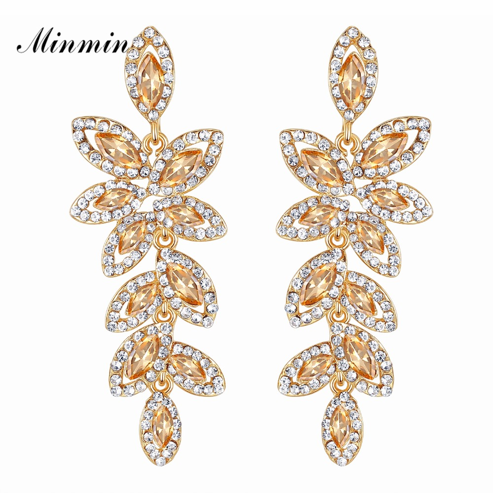 Minmin Crystal Big Long Drop Earrings for Woman Leaf Shape Gold Color Korean Wedding Earrings Fashion Party Jewelry 2018 EH1084
