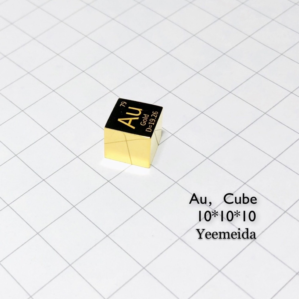 MIRROR POLISHED Gold Metal Au 10mm Density Cube 99 95 Pure for Element Collection