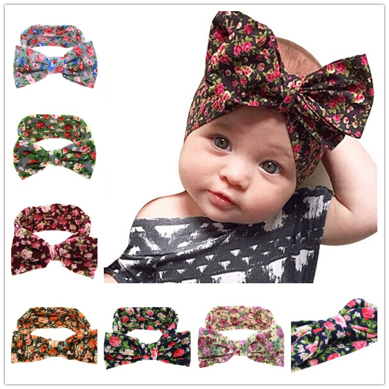 Naturalwell Baby Girls big Bow Knot Elasticity Headband Cotton Children Girls Elastic Hair Band Hair Accessories 1pc HB508 купить