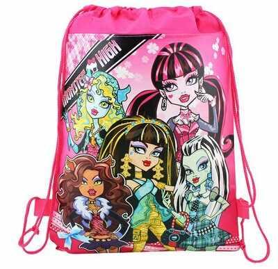 1 Uds. 36*25cm monster tema alto bolsos de tela no tejida mochila con cordón, mochila, bolsa de la compra