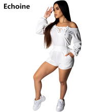 купить Sexy Off-Shoulder Playsuit Long Sleeve Bodycon Jumpsuit Hollow Grommet Playsuit Jumpsuit Lace Up Romper Overalls Club Outfit по цене 1165.85 рублей
