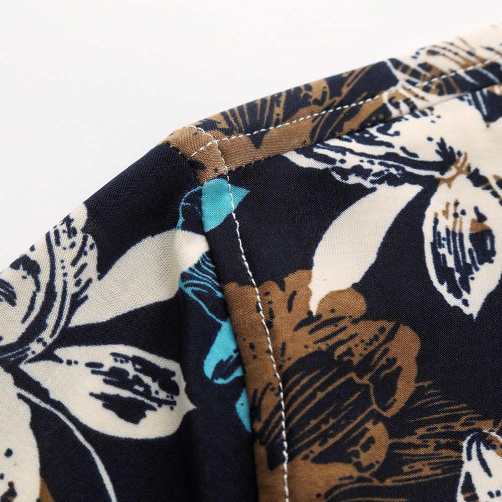2019 новая Цветочная гавайская рубашка Летняя дышащая тонкая мерсеризованная Хлопковая мужская рубашка с коротким рукавом сорочка Плюс Размер Блузка M-7XL