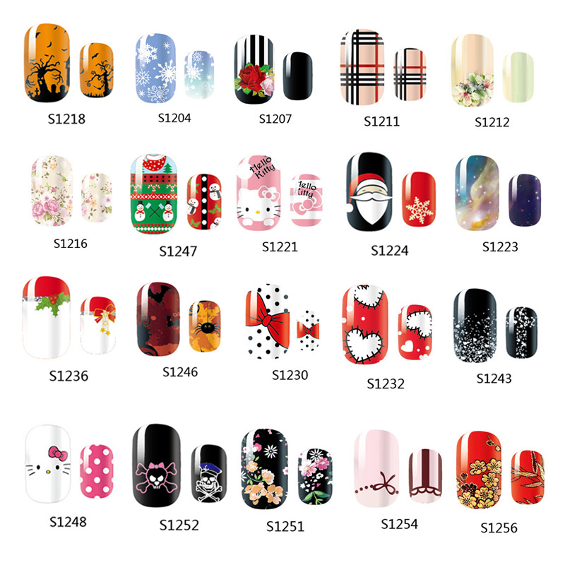 14 Tips NAIL Art Full Cover Self Adhesive Stickers Polish Foils Transfer Tips Wrap Flower Kitty Bowknots Decal Manicure 12x sexy colorful full cover nail art polish sticker metal adhesive foils patch diy beauty nail art tools y stzj 18