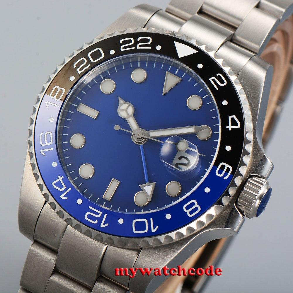43mm bliger blue sterile dial blue luminous GMT date window sapphire glass automatic mens watch 351B цена и фото