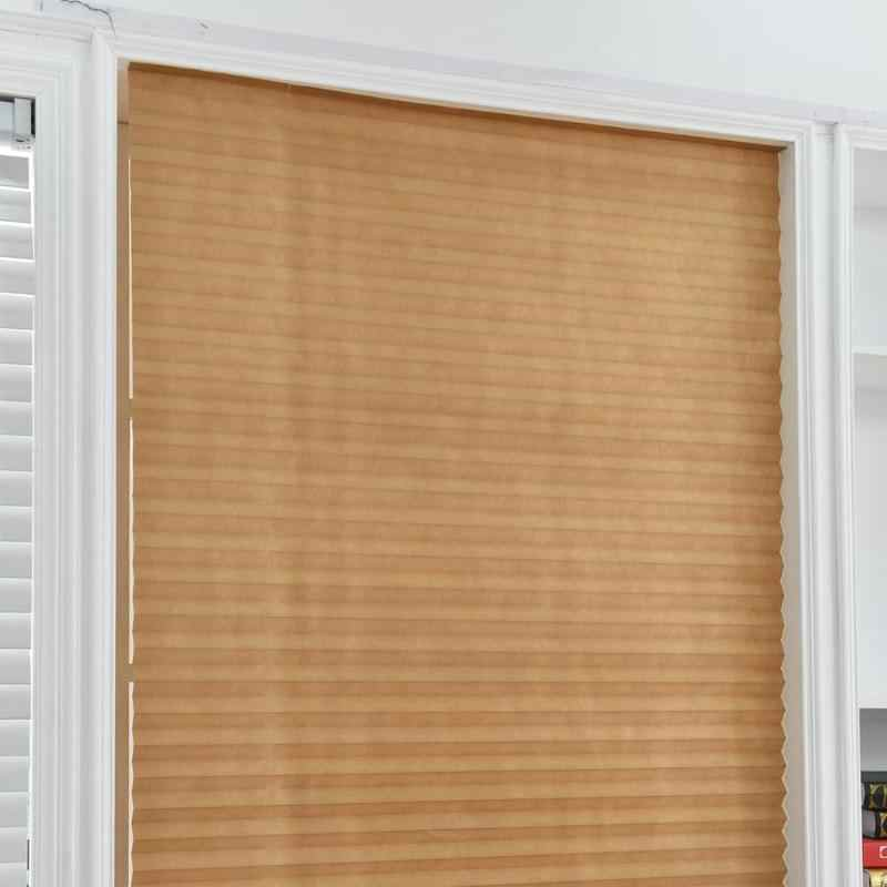 Self Adhesive Pleated Blinds Half Blackout Bathroom Windows