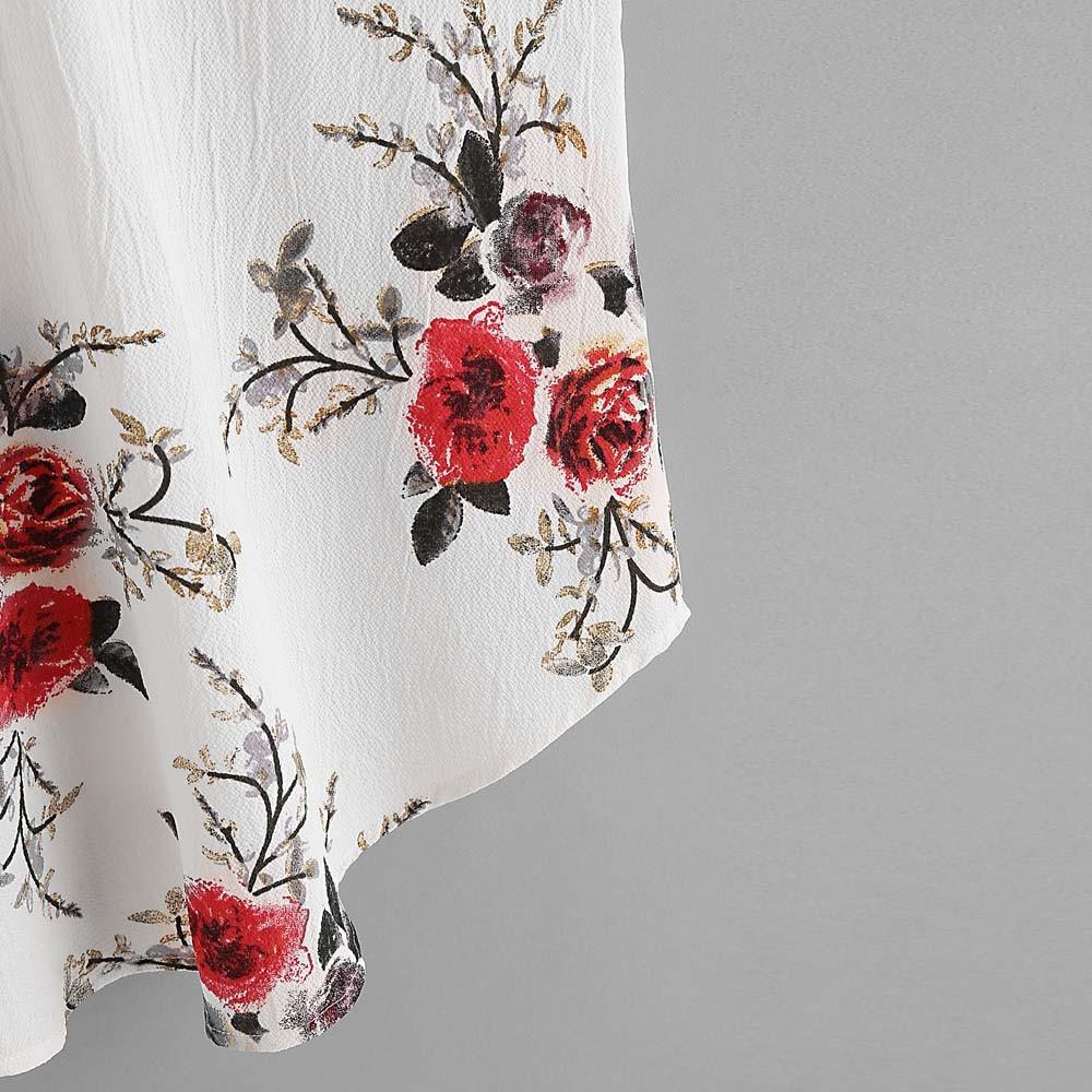 Blouse Hauts Koszula V Décontracté En Chemise Manches Damska D'été Mode Col Mousseline Blanc Sans Floral 2019 Femmes 0YxwnvO