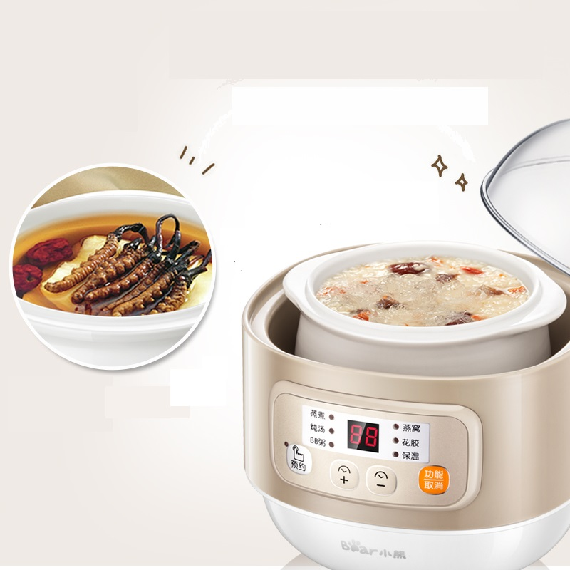 Bear Brand Automatic 220V BaBy Porridge Electric Cooking Pot Electricity Stew Pot Ceramic Material Stewing Pot EU/AU/UK цена
