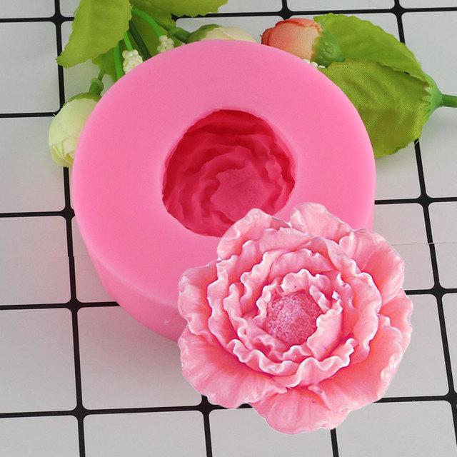 Mujiang 3D Peony Shape Silicone Fondant Molds Flowers Handmade Soap Candle Clay Fimo Mold Cake Baking Wedding Decorating Tools