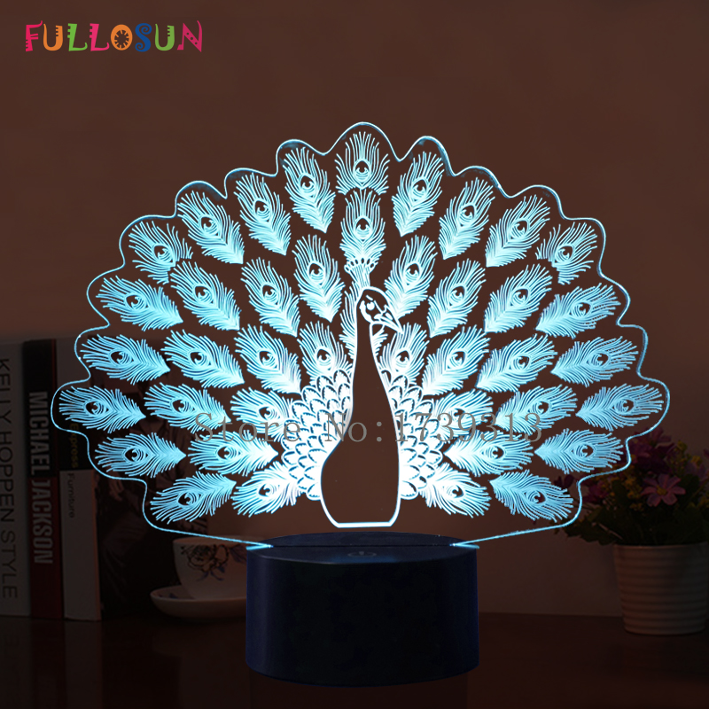 3D Illusion Peacock LED Night Lights Romantic Atmosphere 3D Night Lamp 7 Color Change LED Touch Button Lights for Christmas Gift