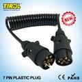 TIROL 7 Pines Plástico Enchufe de Cableado Del Remolque Primavera Conector Del Cable Negro 12 N tipo X2 12N Tapones 150 CM T23489b