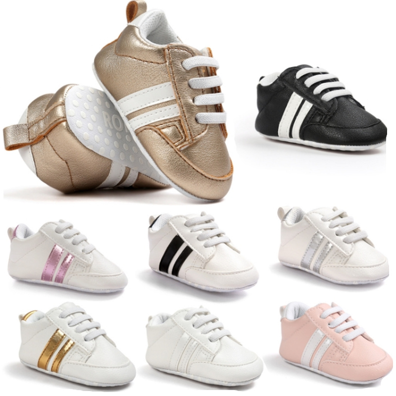 Baby Boy Girl Moccasins Shoes Infant PU Leather First Walkers Non-slip Soft Newborn Sneakers Sport Crib Baby Shoes Boys Footwear