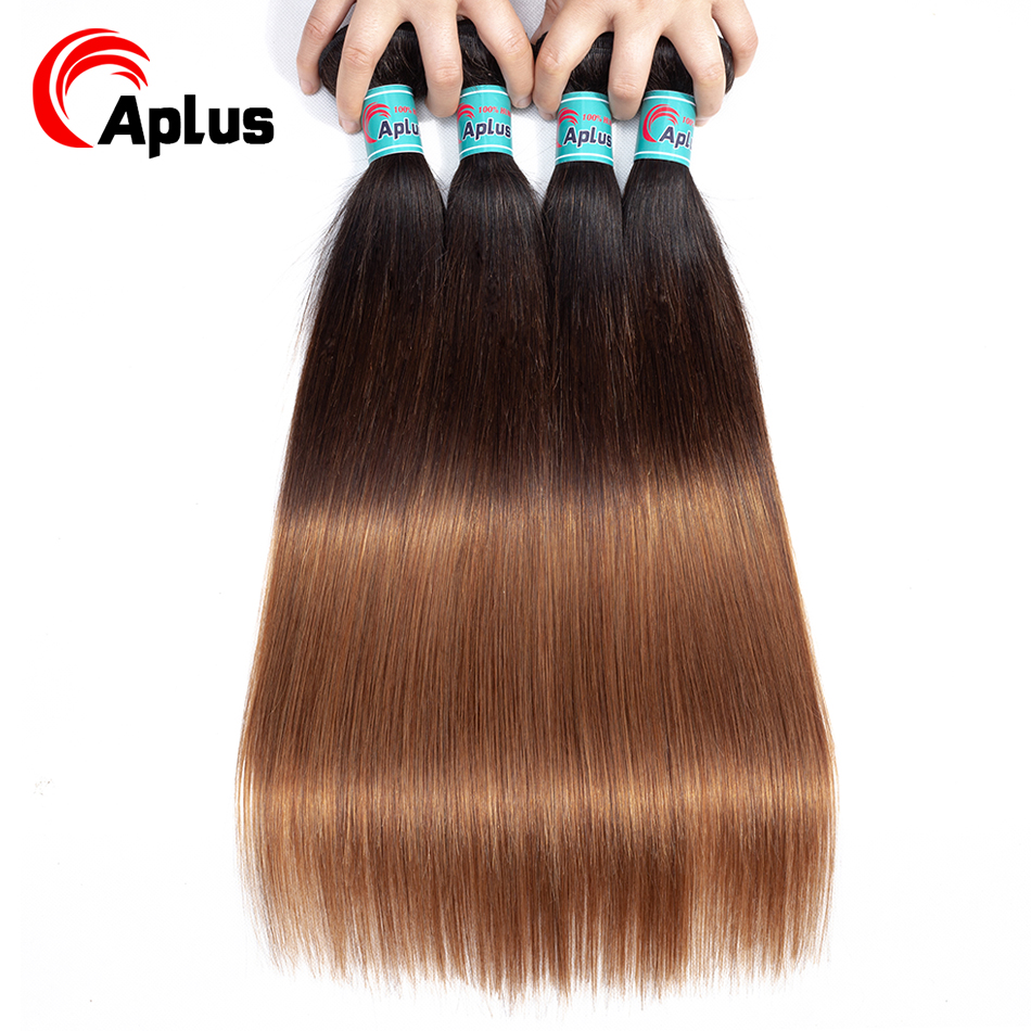 Aplus Malaysian Straight Human Hair Bundles 1b/4/30 Three Tone Ombre Human Hair Extension 4 Bundles Deal Non Remy Colored Hair