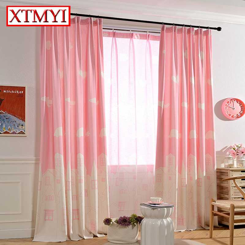 Kids cartoon curtains for bedroom girls pink blue window for Kid curtains window treatments
