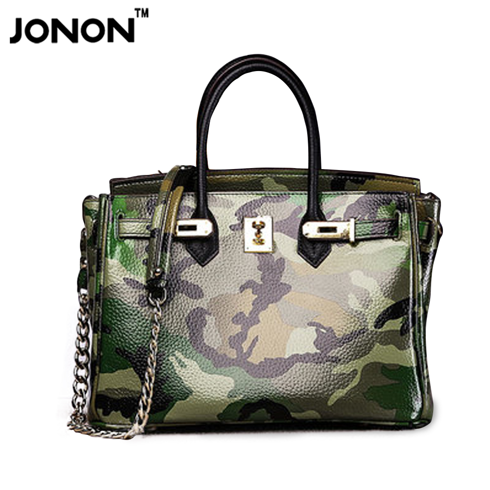 JONON Camouflage women famous brand desinger women leather handbags designer han