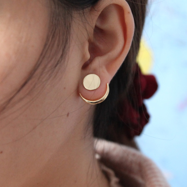 2018 Simple Gold Color Punk Style Moon Shaped Stud Earrings For Women Push-back Double Sided Fashion Earrings Boho Jewelry