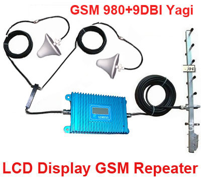 LCD Display 980 GSM 900Mhz Booster W/ 22M Cable+2 Indoor Antennas,900Mhz GSM Repeater Signal Amplifier 900Mhz Repeater