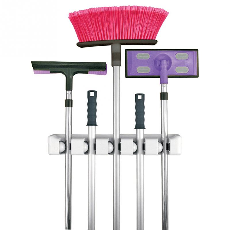 Home Kitchen Mop Broom Holder Wall Mounted Organizer Brush Storage Hanger Tools