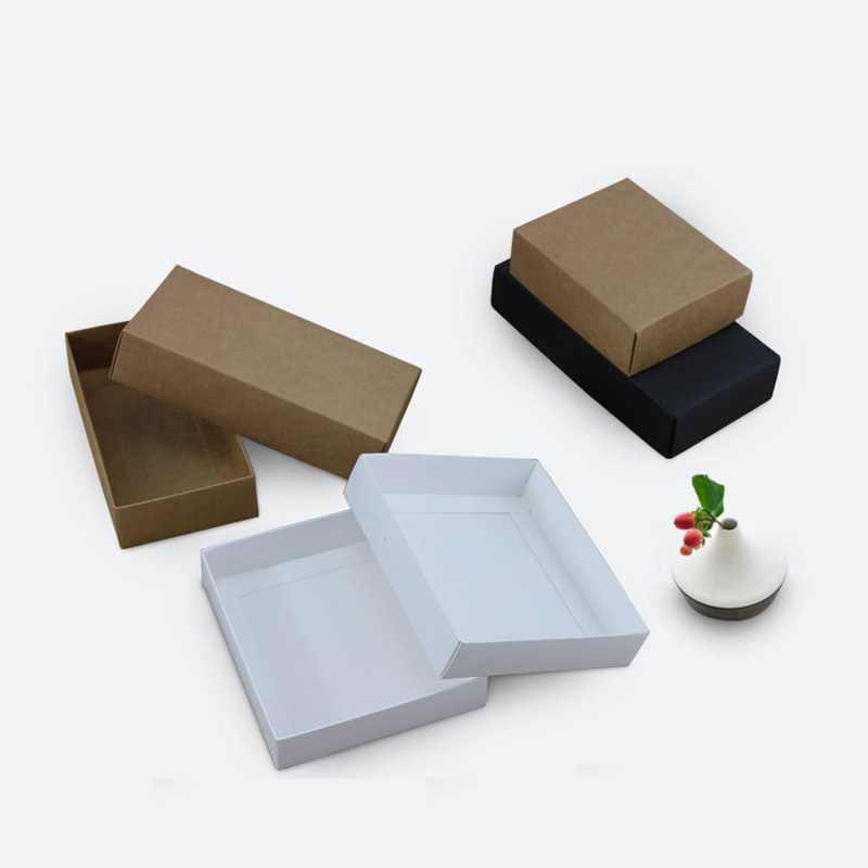 100pcs 10 sizes Kraft black white gift packaging box kraft blank carton paper gift paper box with lid Gift carton cardboard box