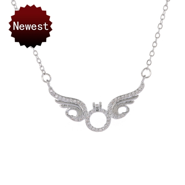 Rose Gold Color Messengers CZ Angel Wing Statement Necklace Women