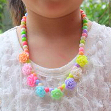 Hot sale! Baby Girls Colorful Beads Necklace Bracelet Set Handmade Flower Jewelry Set Gift
