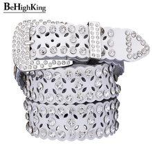 Fashion Rhinestone Cow Genuine leather belts for women Luxury Pin buckle woman  belt High quality waist 8df38ec6a8ec