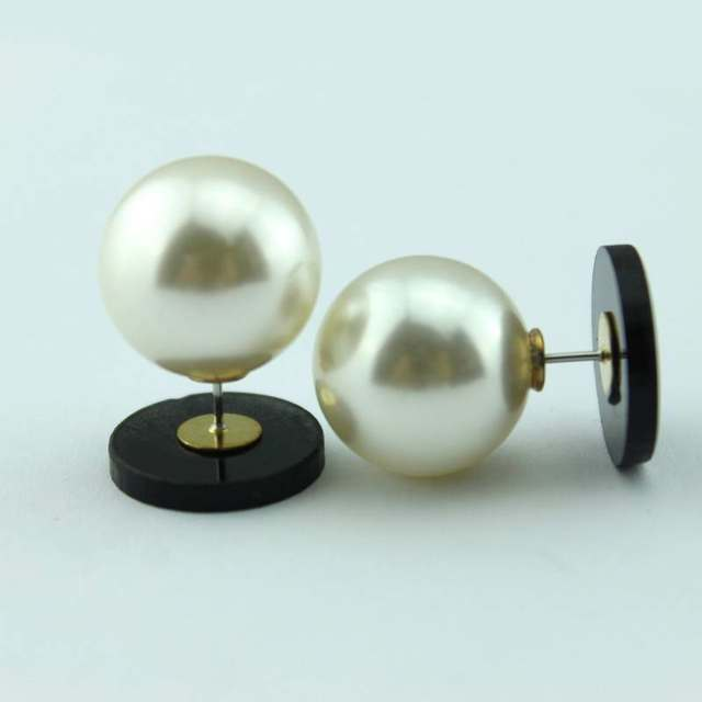 Round Acrylic Monogram Pearl Stud Earrings 2017 Women New Clover Blank Personalized Double Side Jewelry Hot