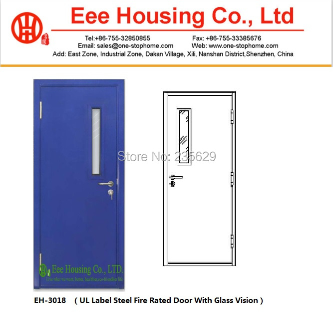Ul fire doors steel fire rated door with glass vision - Commercial steel exterior doors with glass ...