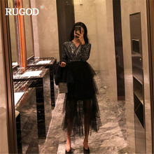 RUGOD 2019 Spring Women Midi Dress Fashion Mesh Patchwork Cake Sexy V Neck Sequined Jumper Party Vestido