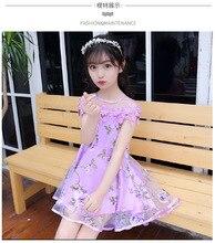 Купить с кэшбэком Teenage Girls Dress Brand Fashion Floral Print Summer Beach Dresses For Girls Vintage  Girl Clothing 4-12 Yrs