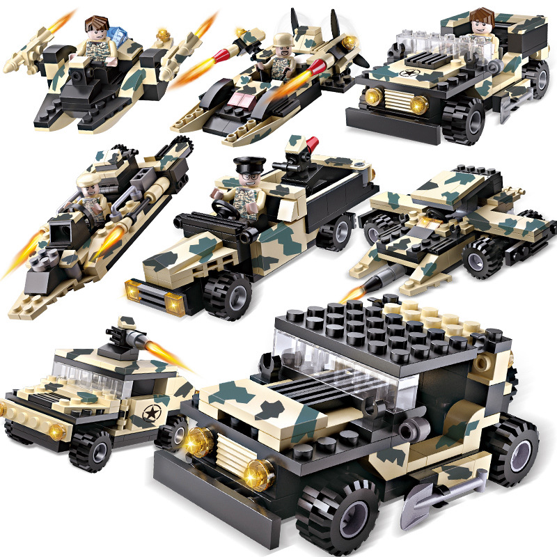 Army Car Military Figures Model Building Blocks Toy Assembly Compatible Brinquedos Kids Bricks Toys for Children Christmas Gift large military 8 in1 747pcs 8 figures building blocks tank warship army war toys for children constructor set compatible lepin