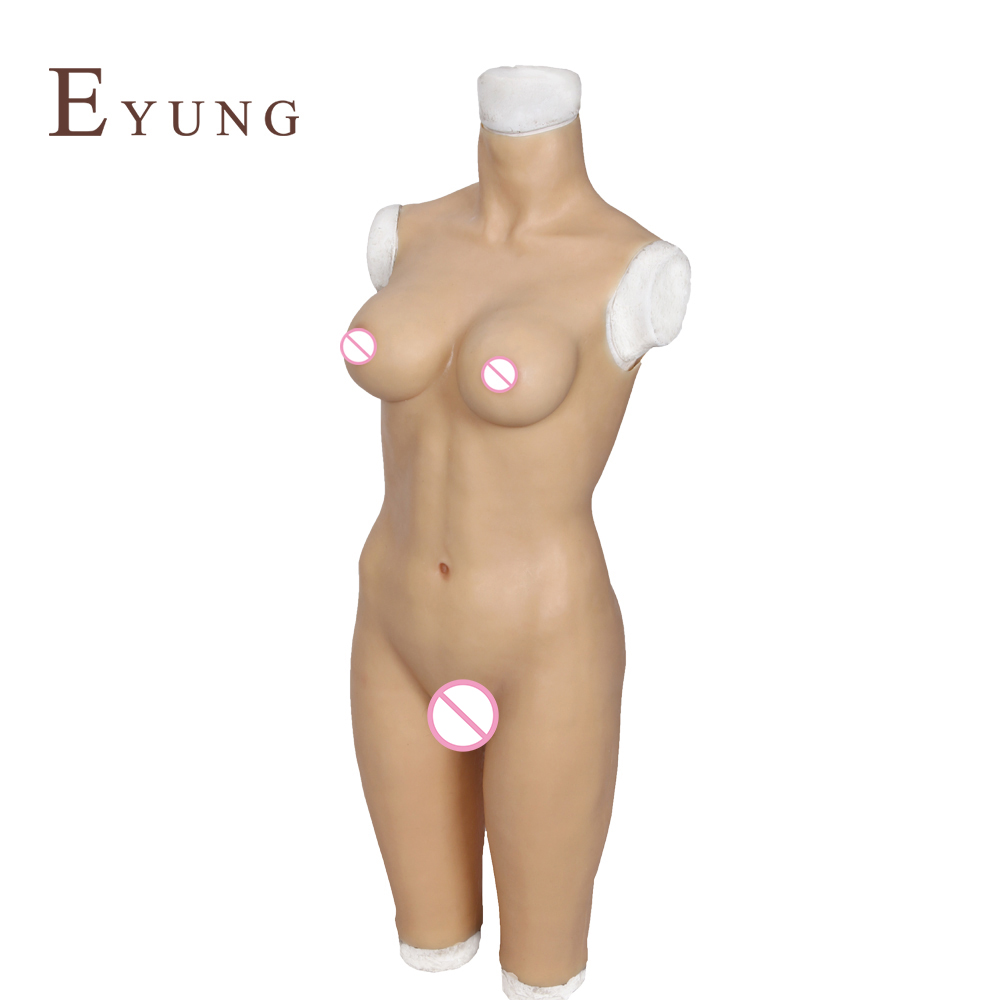 Image 2 - YR B5 S/L Body suit with breast form and fake vagina for drag queen cosplay Zentai suit for crossdresser realistic boobs chest