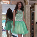 Mint Green Two Piece Short Length Homecoming Dress With Beaded Lace Applique Vestido De Formatura Curto 2016 New