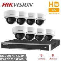 Hikvision Kits de Surveillance vidéo 8CH 8POE 2SATA intégré Plug & Play 4K NVR & 8 pièces H.265 8MP caméra IP caméra de sécurité CCTV