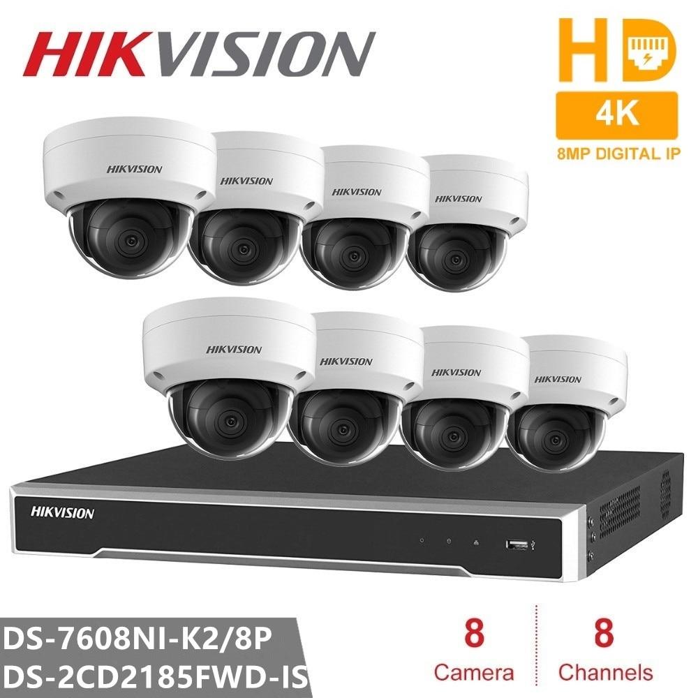 Kits de videovigilancia Hikvision 8CH 8POE 2SATA incrustado Plug & Play 4K NVR y 8 Uds H.265 8MP cámara IP cámara de seguridad CCTV