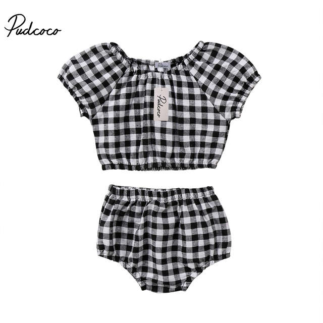 3c13da74 2018 Brand New Cute Newborn Toddler Infant Baby Girls Plaid Crop Top T-shirt  Shorts 2Pcs Checked Plaid Outfits Summer Clothes