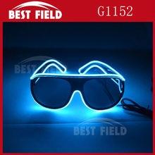 лучшая цена Free shipping El Wire Glow Sun Glasses Led DJ Bright Light Safety Light Up Multicolor Frame Voice control led heart glasses