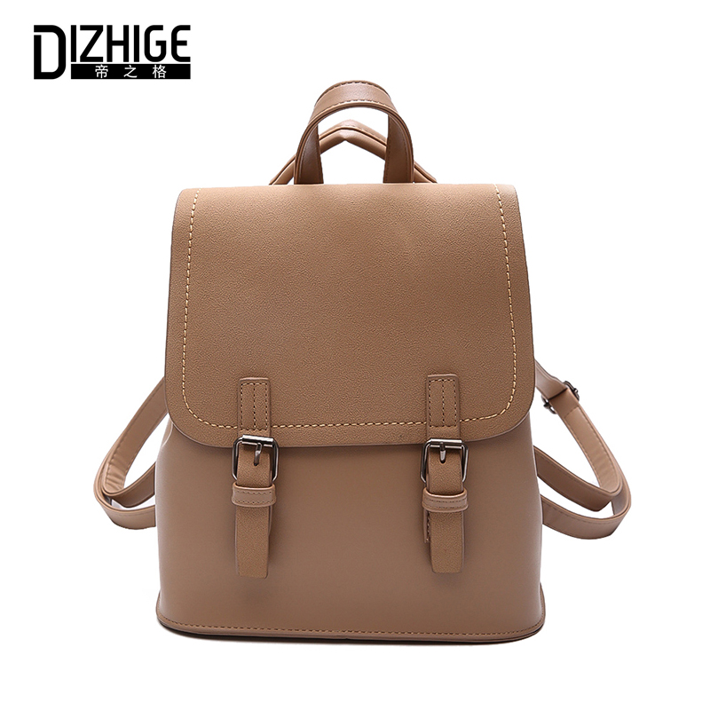DIZHIGE Women Backpack 2018 PU Leather High Quality School Bag For Teenager Girls Cute Solid Backpacks New Famous Brand Designer annmouler famous brand women leather backpack alligator backpacks high quality elegant shoulder bag black school bag for girls