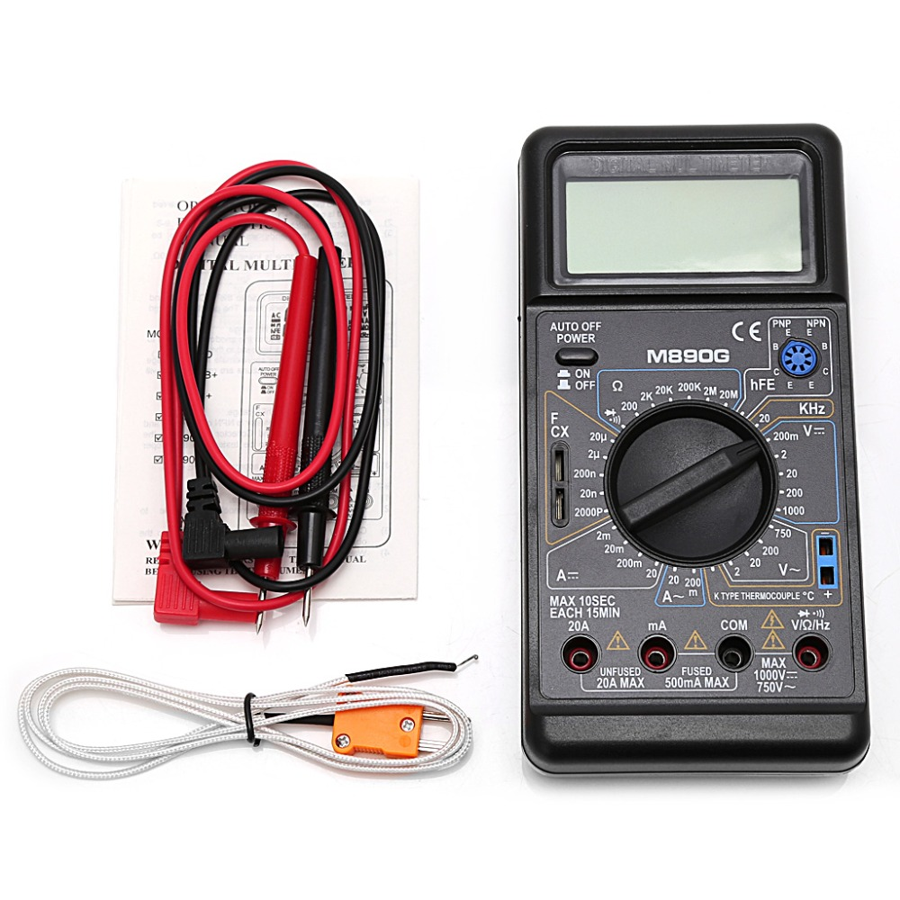 M890G Digital Multimeter DMM AC DC Volt Amp ohm Temperature Meter Tester Tool Frequency Meter Test Tools потолочная люстра freya fr5102 cl 04 ch