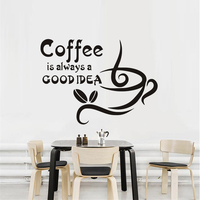 Kitchen Wall Stickers Coffee Is Always A Good Idea Quotes Vinyl Art Decals Diy Home Decor