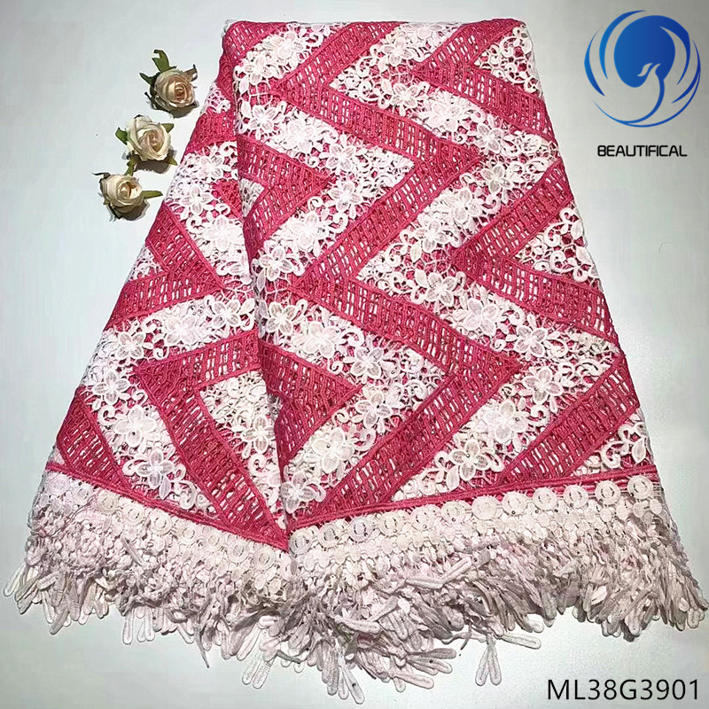 BEAUTIFICAL african cord lace fabrics white guipure dresses fabric 5 yards ML38G39