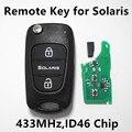 Llave Alejada del coche para Hyundai SOLARIS Controlador de 3 Botones Sin Llave Fob 433 MHz ID46 Chip