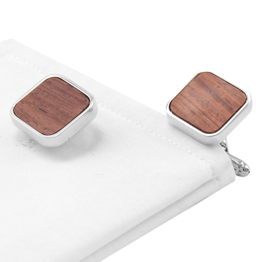 Square Wooden Cuff links Business Mens French Shirt Arm Cuff Buttons Wood Cuffs Sleeve Nails Custom Wedding Jewelry Abotoadura