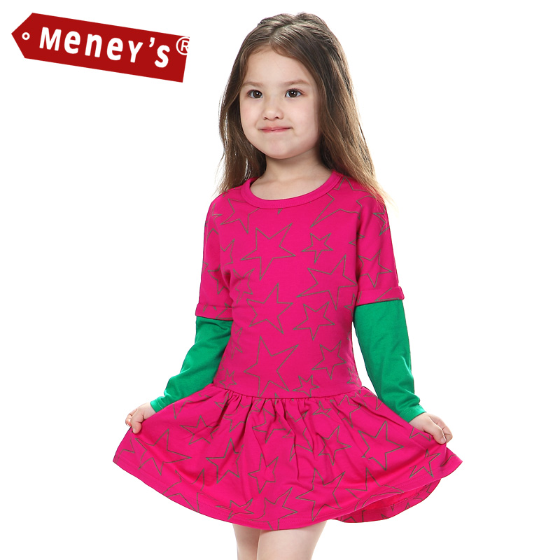 Meney's Girls Christmas Dress 2015 Cotton O-neck Baby Girl Clothes Children Stars Double Layers Full Sleeves Kids Xmas Dresses платье для девочек baby girl clothes 2015 baby baby girls clothes
