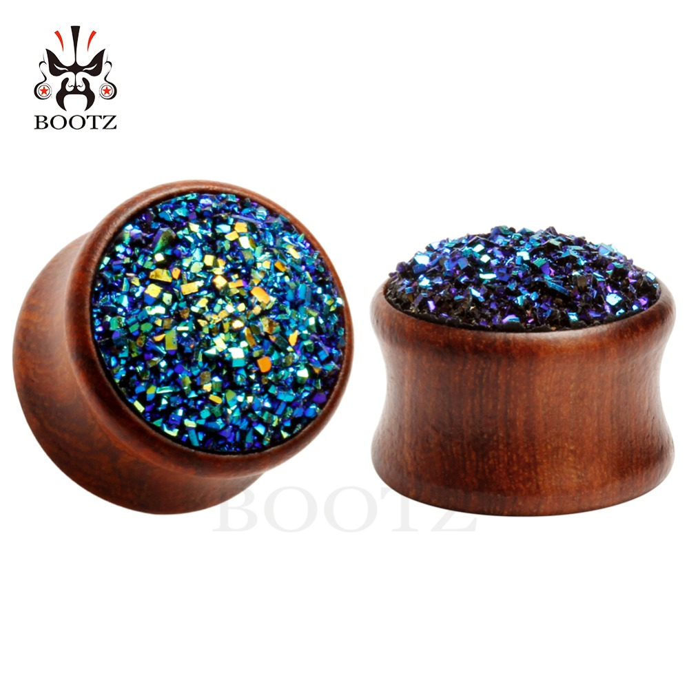 2016 2 pcs pair ear plugs piercing tunnel rosewood perhiasan tubuh dengan mode batu ear gagues