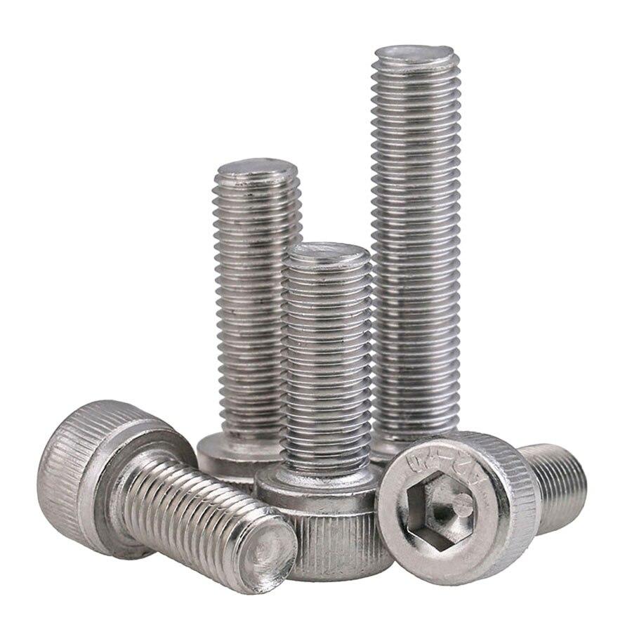 1-5Pcs DIN912 M6 M8 M10 304 Stainless Steel Fine Thread Hex Hexagon Socket Cap Head Screw Pitch 0.75/1.0/1.25mm